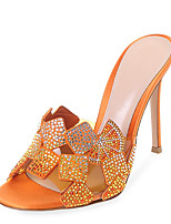 Women's Sandals Summer Slingback Leatherette Dress Casual Stiletto Heel Rhinestone Sparkling Glitter