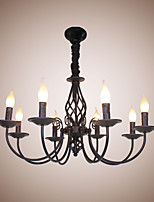 European Simple Iron Living Room Dining Room Lamp Candle Lamp 8 Bedroom Study Game Hall Chandelier