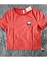 AliExpress ebay hot new red round neck T-shirt short-sleeved t-shirt female alien pattern