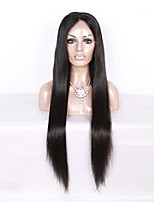 130% Density Brazilian Virgin Hair Full Lace Wig Long Straight Hair Natural Black Color Human Virgin Hair Lace Wig For Black Woman