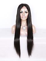 130% densitet brasilianskt jungfruligt hår fullt spets peruk långt rakt hår naturligt svart färg mänskligt virgin hår spets peruk för