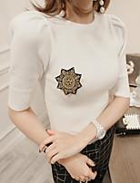 2017 Sommer neues koreanische Art und Weise kurzärmeliges Strickhemd dünnes Temperament Rundhals-Shirt Stand Schulter