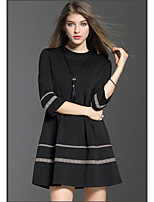 Women's Casual/Daily Simple Little Black Dress,Solid Round Neck Above Knee ¾ Sleeve Others All Seasons Mid Rise Micro-elastic Medium