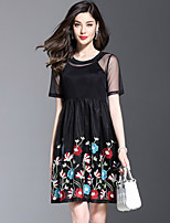 Women's Plus Size Going out Street chic Two Piece Slim Lace Dress Embroidered Mesh Round Neck Above Knee Short Sleeve Silk Black Summer