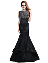 Formal Evening Dress Trumpet / Mermaid Jewel Court Train Satin Tulle with Beading