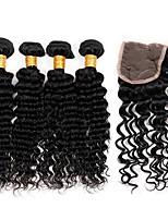 Tissages de cheveux humains Cheveux Brésiliens Ondulation profonde 12 mois 5 Pièces tissages de cheveux