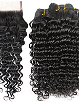 7A Indian Human Virgin Hair Deep Wave 4*4 Lace Closure With 4 Bundles Hair Weft