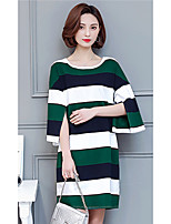 Women's Going out Simple T-shirt,Striped Round Neck ½ Length Sleeve Cotton