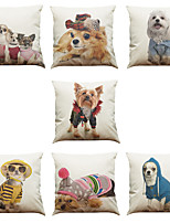 Set of 7 Cartoon Dog Pattern Linen  Cushion Cover Home Office Sofa Square  Pillow Case Decorative Cushion Covers Pillowcases