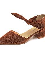 Черный Серебряный Темно-русый-Для женщин-Для прогулок Повседневный-Полиуретан-На толстом каблуке Блочная пятка-Удобная обувь клуб Обувь-