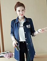 Women's Casual/Daily Cute Summer Denim Jacket,Letter V Neck ¾ Sleeve Long Cotton