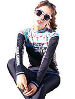 SBART® Жен. Топ для гидрокостюма Ультрафиолетовая устойчивость Защита от солнечных лучей Эластан Терилен Водолазный костюм Длинные рукава