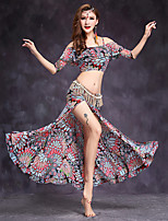 Belly Dance Outfits Women's Performance Spandex Pattern/Print 2 Pieces Half Sleeve Natural Top / Skirt