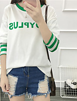 Sign 2016 autumn Korean striped stitching leave two letters printed round neck long-sleeved T-shirt female students