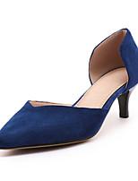 Damen-High Heels-Büro Kleid Lässig-Vlies-Stöckelabsatz-Club-Schuhe-Schwarz Grau Blau