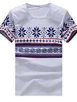 Men 's Fashion Casual National Wind Printing  Short - Sleeved T - Shirt