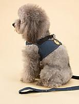 Cat Dog Harness Leash Adjustable/Retractable Training Solid Blue Fabric