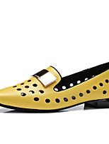 Women's Loafers & Slip-Ons Summer Fall Comfort Cowhide Office & Career Dress Casual Flat Heel Low Heel Chunky Heel Polka Dot