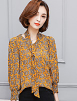 Women's Casual/Daily Simple Blouse,Floral V Neck Long Sleeve Polyester Thin