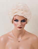 Heat Resistant Human Hair Wig Fluffy Short Layered Wavy White Capless Cap Wig For Women 2017