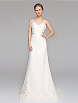 LAN TING BRIDE A-line Wedding Dress Open Back Sweep / Brush Train V-neck Lace with Appliques Sash / Ribbon