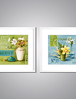 Framed Canvas Print Flower Painting on Canvas with White Frame for Wall Decor Ready to Hang