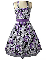 Women's Going out Holiday Skater Dress,Floral Strap Above Knee Sleeveless Rayon Summer High Rise Micro-elastic Thin