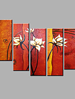 Hand-Painted Abstract Flowers Set Modern Five Panels Canvas Oil Painting For Home Decoration