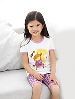 Girls' Casual/Daily Geometric Sets,Cotton Summer Clothing Set