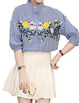 Women's Casual/Daily Simple Shirt,Floral Round Neck ¾ Sleeve Polyester