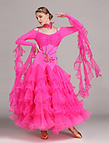 Ballroom Dance Dresses Women's Performance Tulle Lycra Appliques Crystals/Rhinestones Pleated 2 Pieces Long Sleeve Natural Dress Neckwear