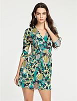 Damen Bodycon Kleid-Lässig/Alltäglich Sexy / Retro Druck V-Ausschnitt Mini Langarm Blau / Grün Polyester Frühling / HerbstMittlere