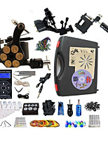 Complete Tattoo Kit 3 Machines G3Z14R7R3 Liner & Shader  Black Hurricane Dual LED Digital Power Supply