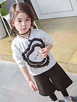 Girls' Casual/Daily Patchwork Sets,Cotton Acrylic Spring Fall Long Sleeve Clothing Set