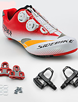 SD004 Cycling Shoes Unisex Road Bike Sneakers Damping / Cushioning White / Red-sidebike And ShimanoR550 Rock Pedals