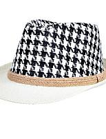 Men Hemp Rope Weaving Jazz Printing Straw Black Small Hat Beach Flat Top Shade Hat