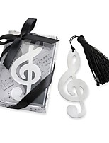 Treble Clef Brushed Metal Bookmark Favor With Elegant Silk Tassel