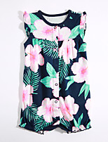 Baby Casual/Daily Floral One-Pieces,Cotton Summer Short Sleeve