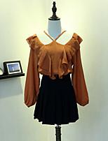 Для женщин На каждый день Весна Блуза Хальтер,Простое Однотонный Длинный рукав,Искусственный шёлк,Средняя