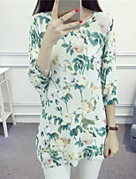 Women's Casual/Daily Cute Regular Cloak / Capes,Floral Round Neck ¾ Sleeve Cotton Summer Medium Micro-elastic