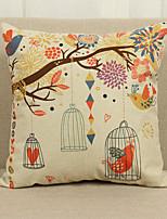 1 pcs Lin Housse de coussin Taie d'oreiller,Fleur Texturé Rustique Traditionnel/Classique Euro