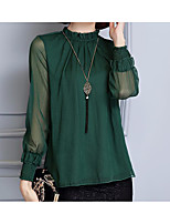 Women's Casual/Daily Simple Blouse,Solid Round Neck Long Sleeve Polyester Thin