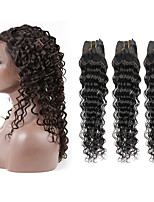 360 Lace Frontal Closure With 3 Bundles Peruvian Virgin Human Hair Deep Wave