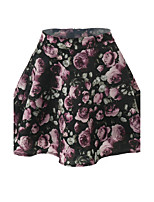 Women's Mid Rise Going out Casual/Daily Above Knee Skirts Street chic A Line Print Summer
