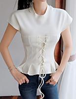 Feminino Camiseta Para Noite Casual Trabalho Simples Moda de Rua Sofisticado Primavera Verão,Sólido Algodão Decote Redondo Manga Curta