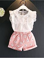 Girls' Casual/Daily Print Sets,Cotton Rayon Summer Sleeveless Clothing Set