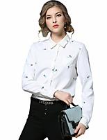 Chemise Femme,Broderie Décontracté / Quotidien Travail Chinoiserie Printemps Eté Manches Longues Col de Chemise Coton Moyen