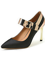 Heels Spring Summer Fall Club Shoes Cowhide Satin Office & Career Dress Casual Stiletto Heel Buckle Split Joint