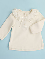 Casual/Daily Solid Blouse,Cotton Winter Long Sleeve Regular