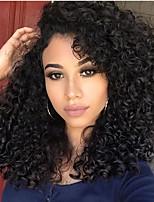 10-26 Zoll menschliches reines Haar natürliche schwarze Farbe Spitze vordere Perücke kleines lockiges Haar mit Babyhaar